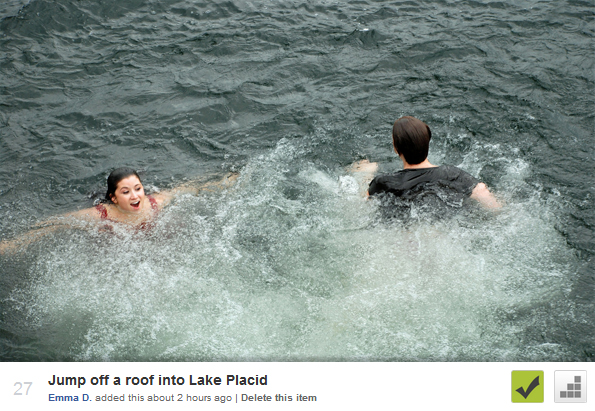 Jumped off a roof into Lake Placid